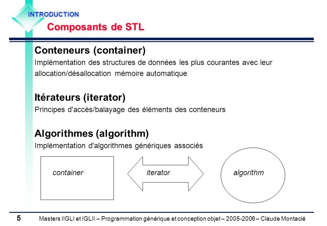 Masters IIGLI et IGLII – Programmation générique et conception objet – 2005-2006 – Claude Montacié 5 Conteneurs (container) Implémentation des structu