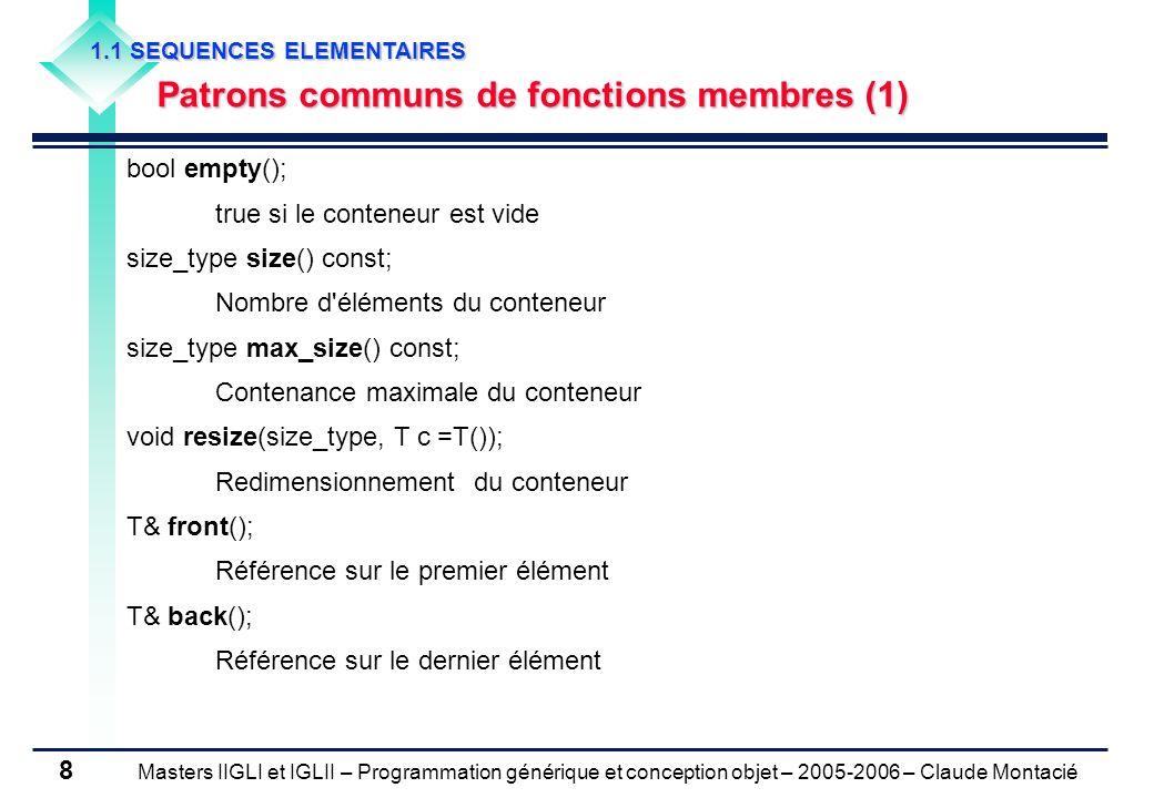 Masters IIGLI et IGLII – Programmation générique et conception objet – 2005-2006 – Claude Montacié 8 1.1 SEQUENCES ELEMENTAIRES Patrons communs de fon