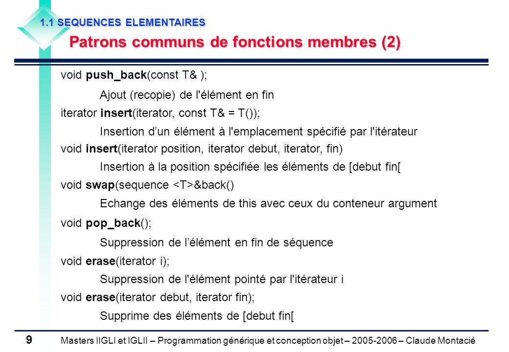 Masters IIGLI et IGLII – Programmation générique et conception objet – 2005-2006 – Claude Montacié 9 void push_back(const T& ); Ajout (recopie) de l'é