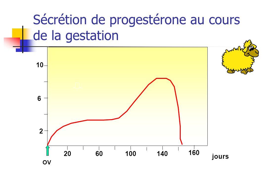 2 6 OV 2060100140 10 160 jours Sécrétion de progestérone au cours de la gestation