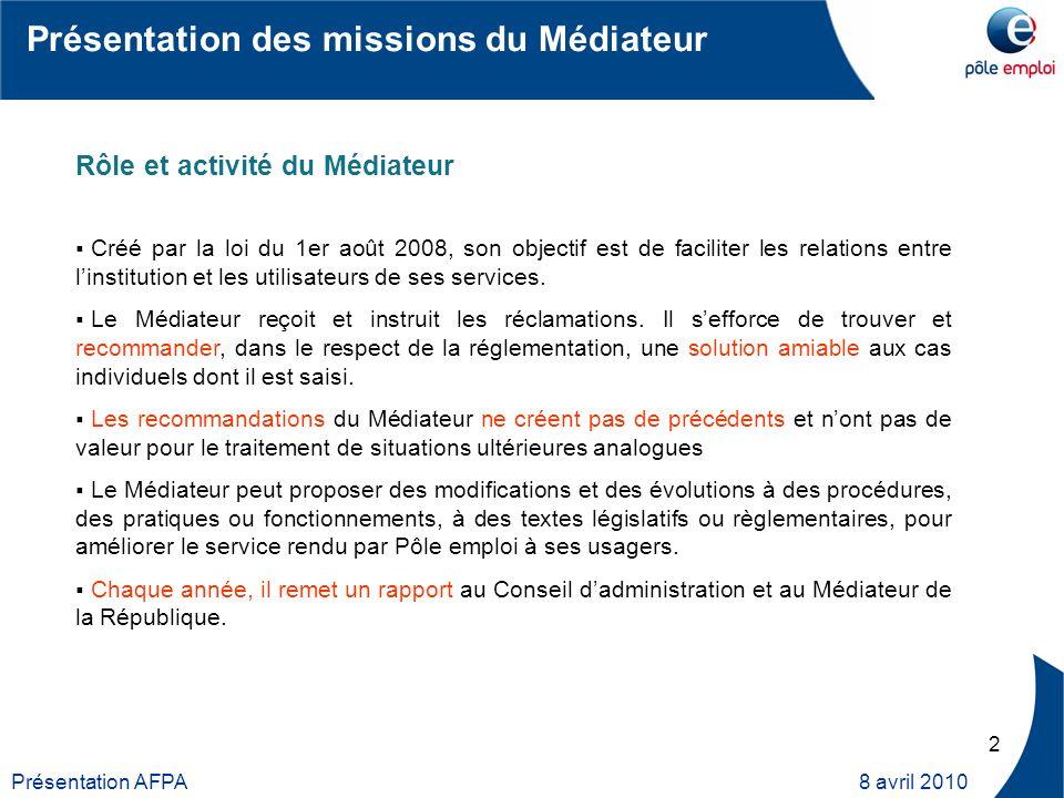 3 Présentation AFPA 8 avril 2010 Un Médiateur national rattaché directement au Directeur général, anime un réseau de Médiateurs régionaux dont il coordonne lactivité.