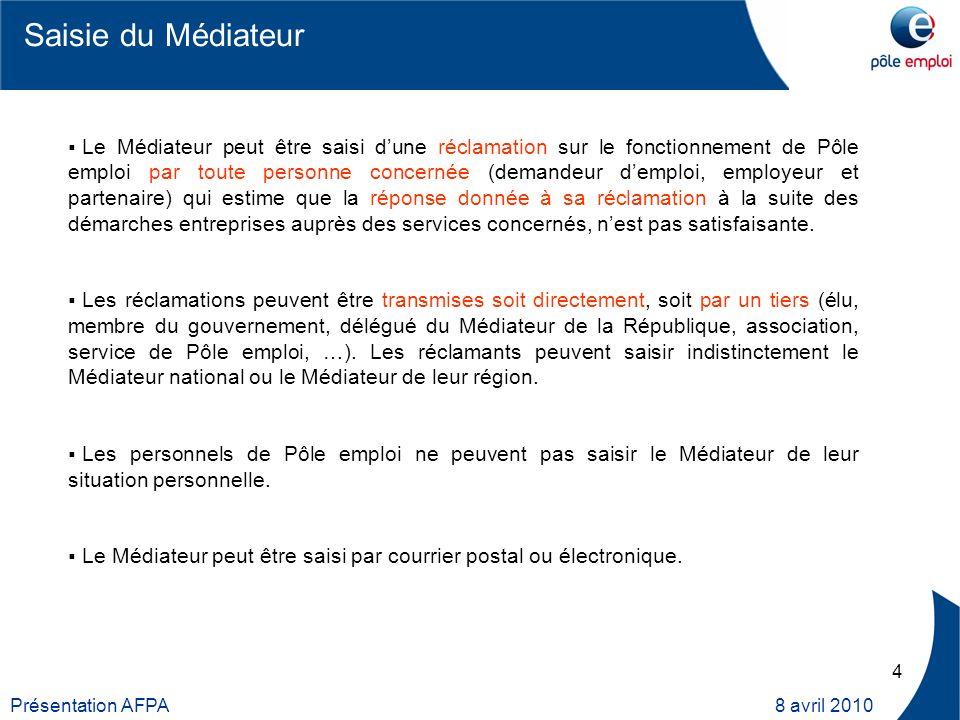 5 Présentation AFPA 8 avril 2010 Le service Médiateur est en contact quotidien avec les Directeurs, adjoints et conseillers des agences Pôle emploi qui tous, malgré leur charge, apportent des explications de plus en plus rapides et claires.