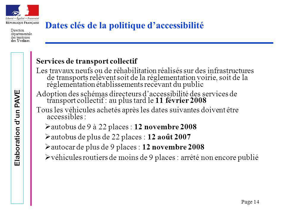 Elaboration dun PAVE Direction départementale des territoires des Yvelines Page 14 Dates clés de la politique daccessibilité Services de transport col