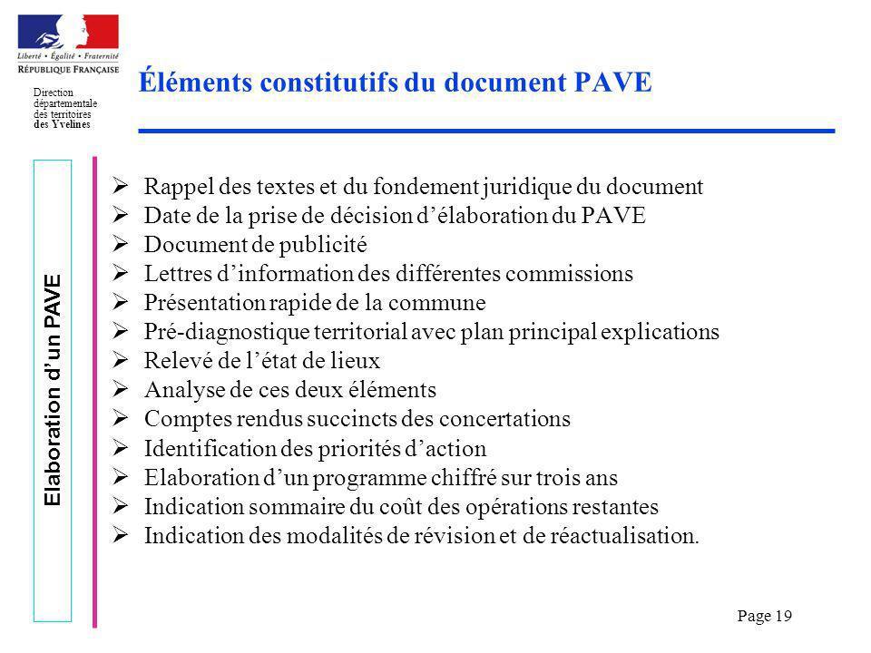 Elaboration dun PAVE Direction départementale des territoires des Yvelines Page 19 Éléments constitutifs du document PAVE Rappel des textes et du fond
