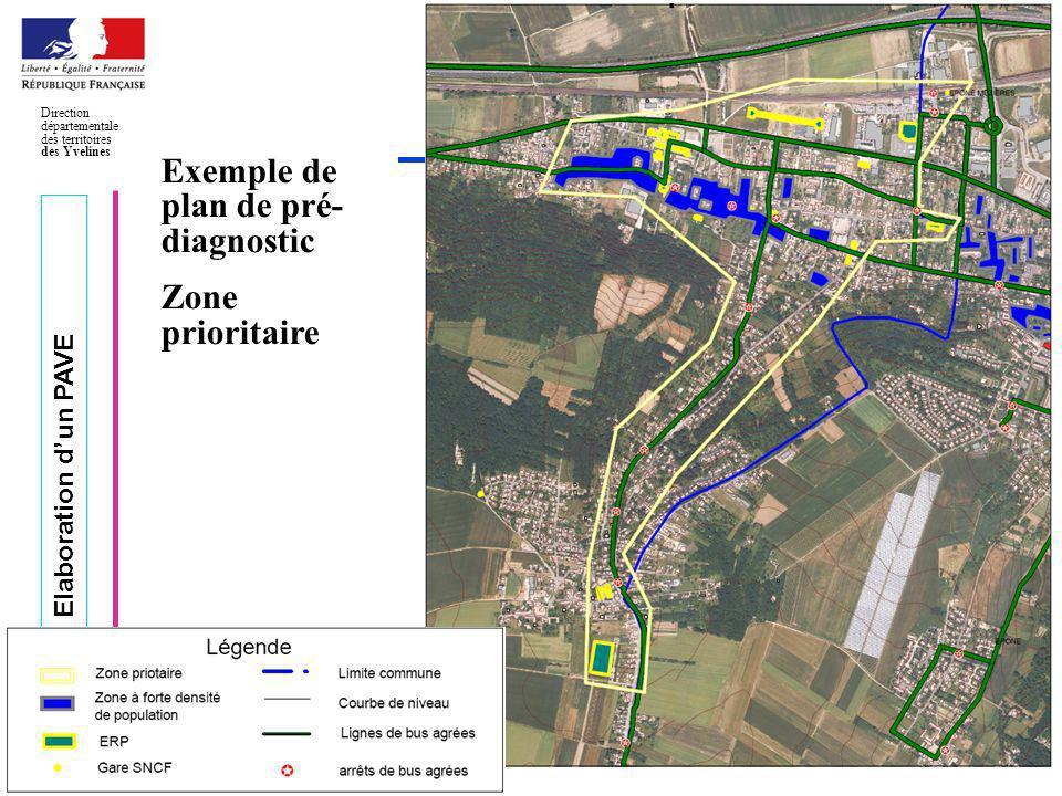 Elaboration dun PAVE Direction départementale des territoires des Yvelines Page 21 Exemple de plan de pré- diagnostic Zone prioritaire