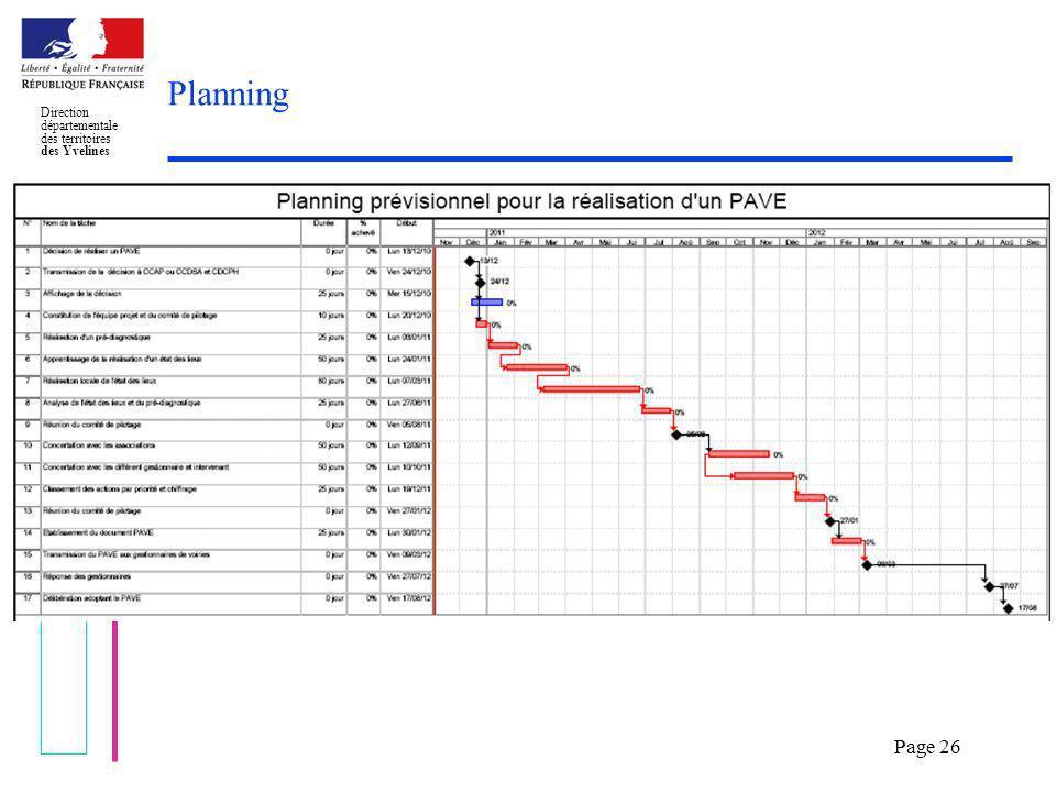 Elaboration dun PAVE Direction départementale des territoires des Yvelines Page 26 Planning