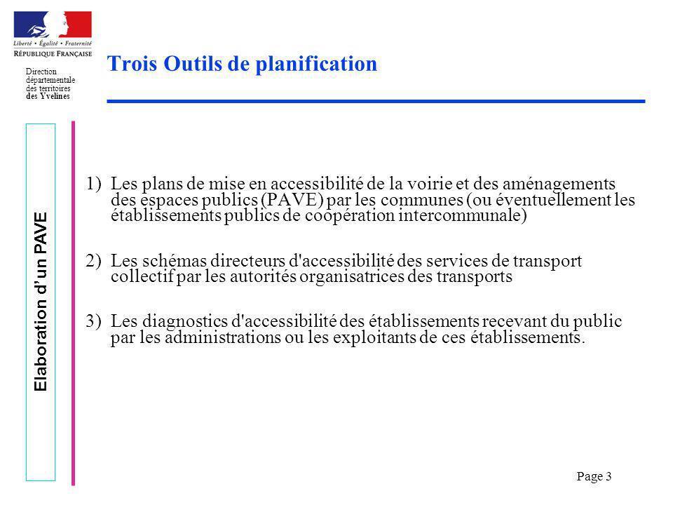Elaboration dun PAVE Direction départementale des territoires des Yvelines Page 3 Trois Outils de planification 1)Les plans de mise en accessibilité d