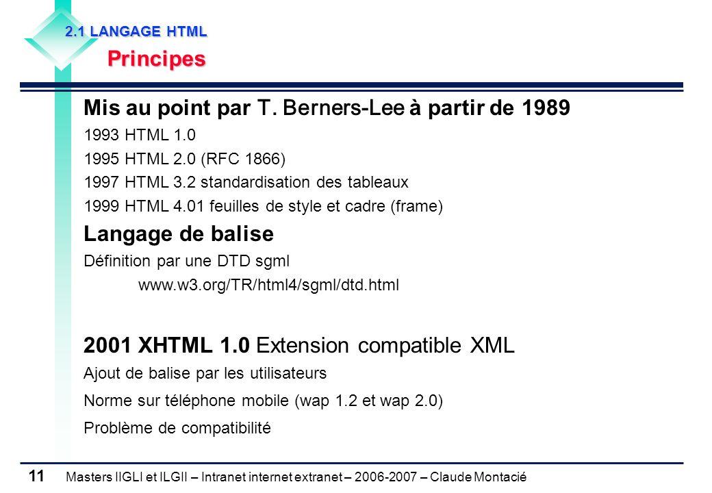 Masters IIGLI et ILGII – Intranet internet extranet – 2006-2007 – Claude Montacié 11 Mis au point par T.