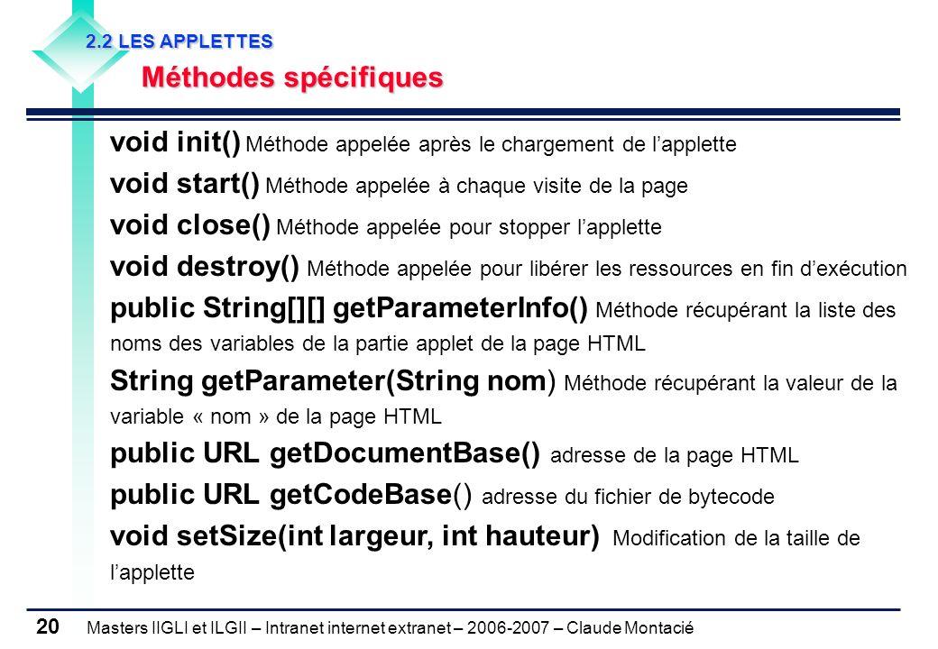 Masters IIGLI et ILGII – Intranet internet extranet – 2006-2007 – Claude Montacié 20 void init() Méthode appelée après le chargement de lapplette void start() Méthode appelée à chaque visite de la page void close() Méthode appelée pour stopper lapplette void destroy() Méthode appelée pour libérer les ressources en fin dexécution public String[][] getParameterInfo() Méthode récupérant la liste des noms des variables de la partie applet de la page HTML String getParameter(String nom) Méthode récupérant la valeur de la variable « nom » de la page HTML public URL getDocumentBase() adresse de la page HTML public URL getCodeBase() adresse du fichier de bytecode void setSize(int largeur, int hauteur) Modification de la taille de lapplette 2.2 LES APPLETTES 2.2 LES APPLETTES Méthodes spécifiques Méthodes spécifiques
