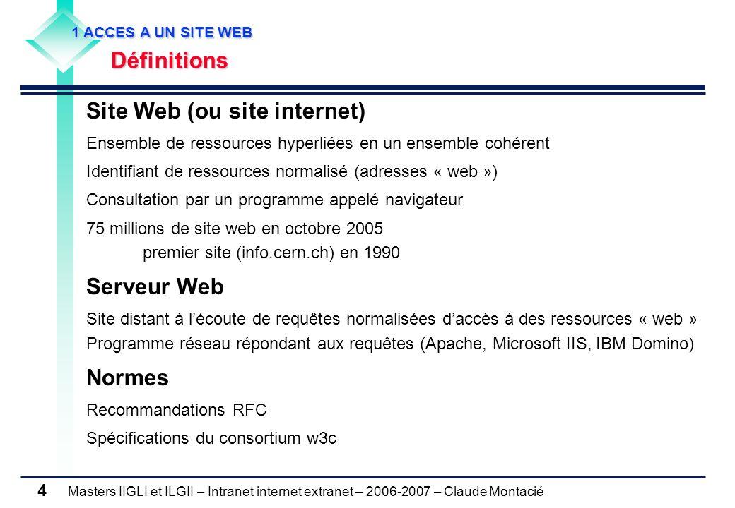 Masters IIGLI et ILGII – Intranet internet extranet – 2006-2007 – Claude Montacié 4 Site Web (ou site internet) Ensemble de ressources hyperliées en un ensemble cohérent Identifiant de ressources normalisé (adresses « web ») Consultation par un programme appelé navigateur 75 millions de site web en octobre 2005 premier site (info.cern.ch) en 1990 Serveur Web Site distant à lécoute de requêtes normalisées daccès à des ressources « web » Programme réseau répondant aux requêtes (Apache, Microsoft IIS, IBM Domino) Normes Recommandations RFC Spécifications du consortium w3c 1 ACCES A UN SITE WEB 1 ACCES A UN SITE WEB Définitions Définitions