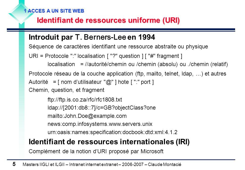 Masters IIGLI et ILGII – Intranet internet extranet – 2006-2007 – Claude Montacié 5 Introduit par T.