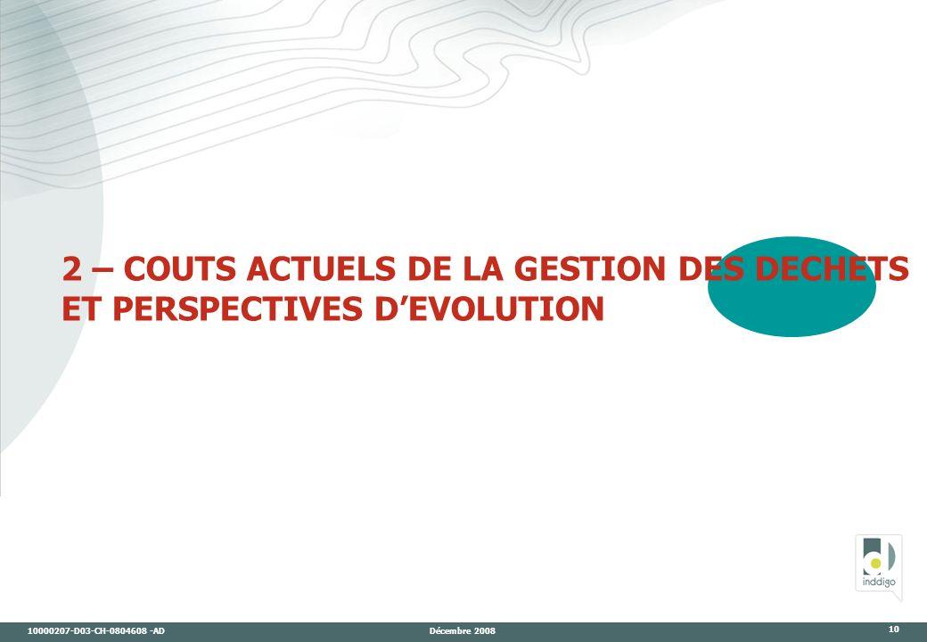 10000207-D03-CH-0804608 -AD Décembre 2008 10 2 – COUTS ACTUELS DE LA GESTION DES DECHETS ET PERSPECTIVES DEVOLUTION