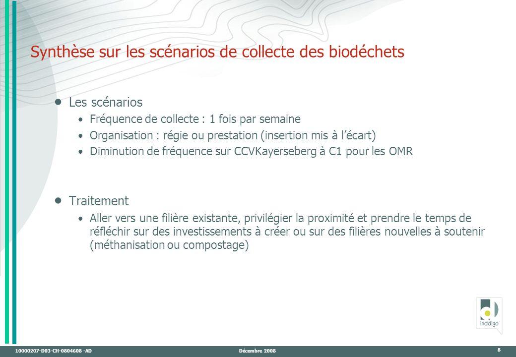 10000207-D03-CH-0804608 -AD Décembre 2008 8 Synthèse sur les scénarios de collecte des biodéchets Les scénarios Fréquence de collecte : 1 fois par semaine Organisation : régie ou prestation (insertion mis à lécart) Diminution de fréquence sur CCVKayerseberg à C1 pour les OMR Traitement Aller vers une filière existante, privilégier la proximité et prendre le temps de réfléchir sur des investissements à créer ou sur des filières nouvelles à soutenir (méthanisation ou compostage)