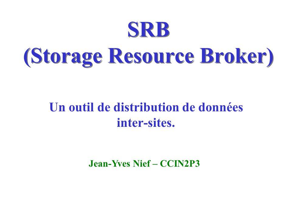 SRB (Storage Resource Broker) Un outil de distribution de données inter-sites. Jean-Yves Nief – CCIN2P3