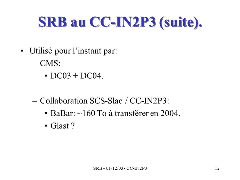 SRB - 01/12/03 - CC-IN2P312 SRB au CC-IN2P3 (suite). Utilisé pour linstant par: –CMS: DC03 + DC04. –Collaboration SCS-Slac / CC-IN2P3: BaBar: ~160 To
