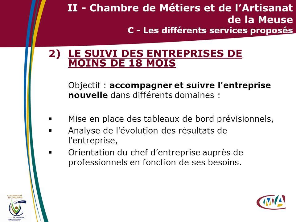 17 II - Chambre de Métiers et de lArtisanat de la Meuse C - Les différents services proposés 2)LE SUIVI DES ENTREPRISES DE MOINS DE 18 MOIS Objectif :