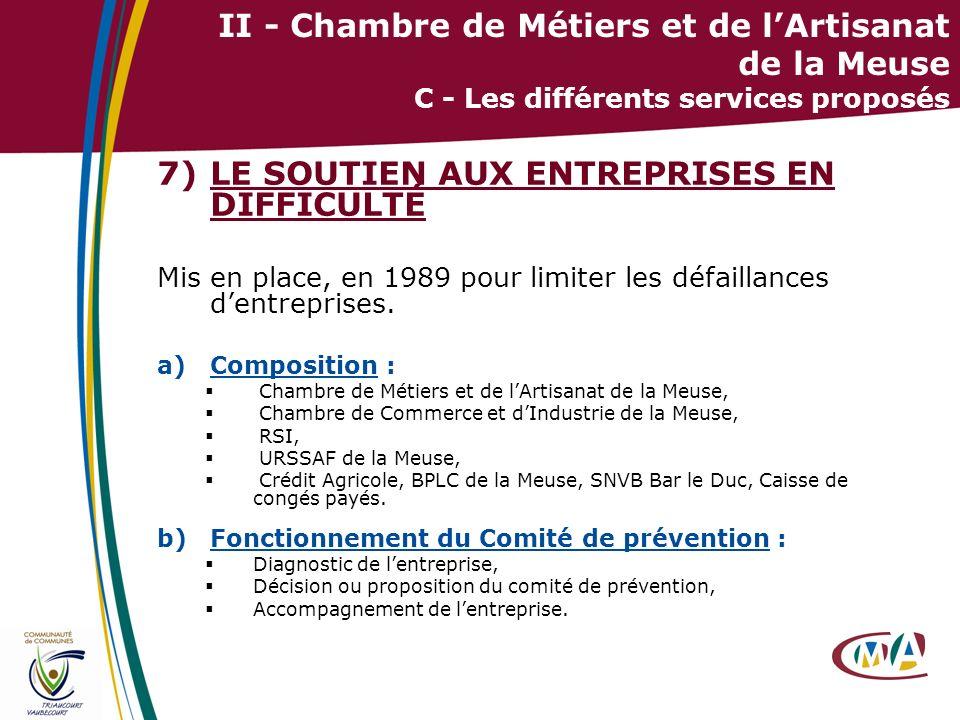 23 II - Chambre de Métiers et de lArtisanat de la Meuse C - Les différents services proposés 7)LE SOUTIEN AUX ENTREPRISES EN DIFFICULTÉ Mis en place,