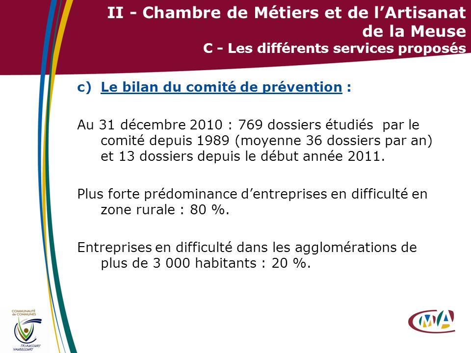 24 II - Chambre de Métiers et de lArtisanat de la Meuse C - Les différents services proposés c)Le bilan du comité de prévention : Au 31 décembre 2010