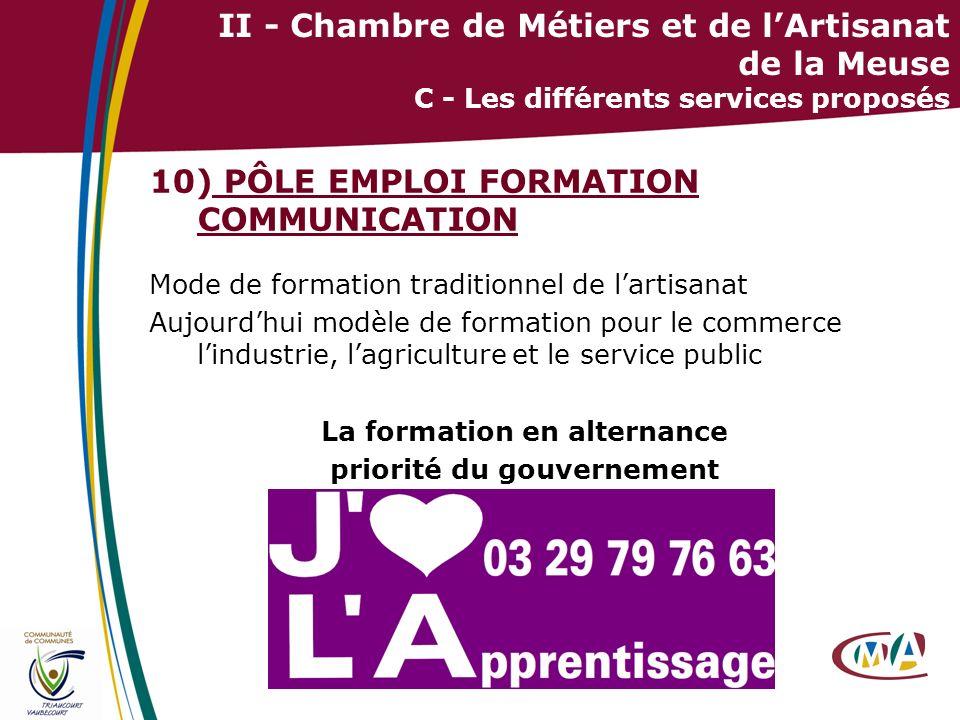 29 II - Chambre de Métiers et de lArtisanat de la Meuse C - Les différents services proposés 10) PÔLE EMPLOI FORMATION COMMUNICATION Mode de formation