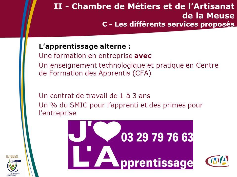 30 II - Chambre de Métiers et de lArtisanat de la Meuse C - Les différents services proposés Lapprentissage alterne : Une formation en entreprise avec