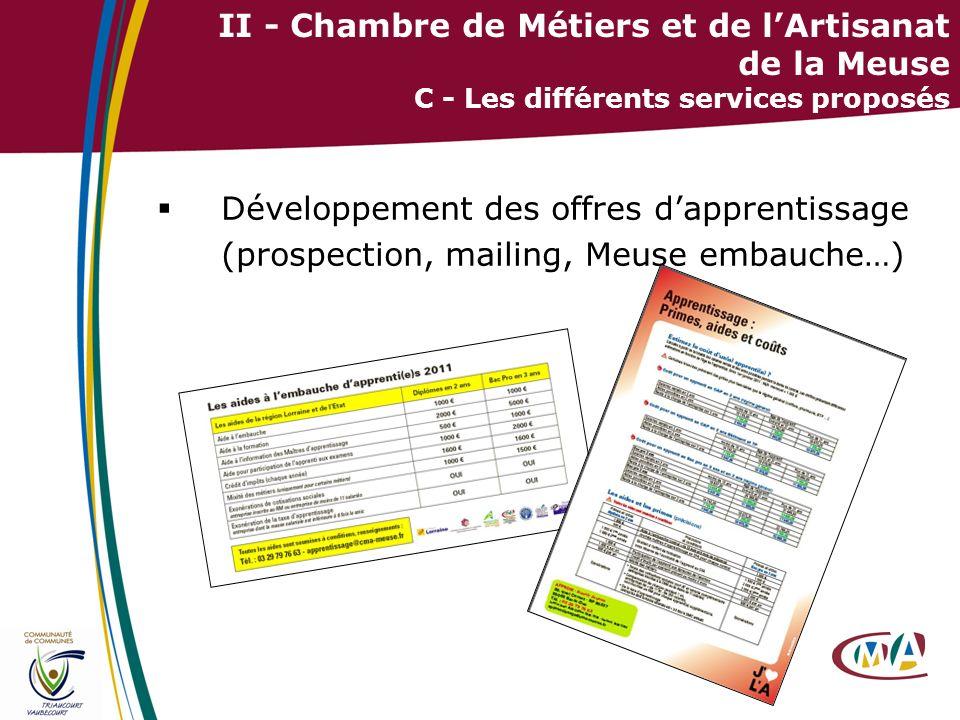 32 II - Chambre de Métiers et de lArtisanat de la Meuse C - Les différents services proposés Développement des offres dapprentissage (prospection, mai