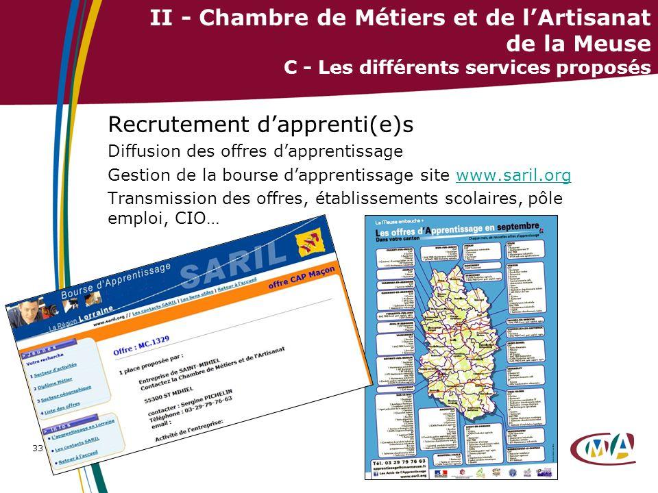 33 II - Chambre de Métiers et de lArtisanat de la Meuse C - Les différents services proposés Recrutement dapprenti(e)s Diffusion des offres dapprentis