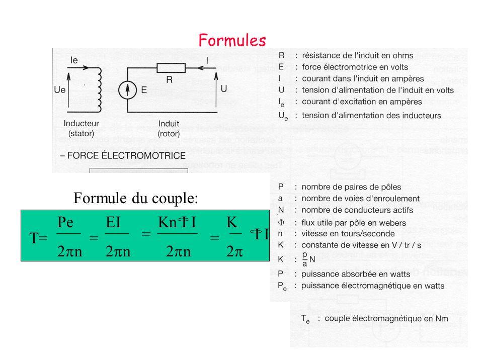 Formule du couple: T= Pe 2 n = EI 2 n = Kn I I 2 n = K 2 I Formules