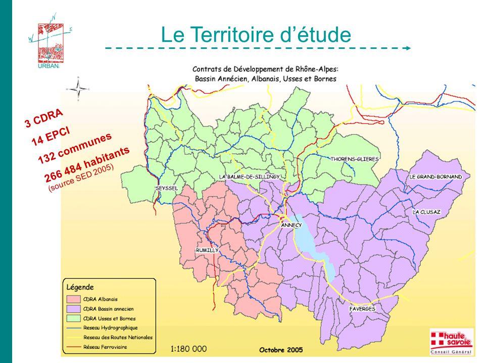 Le Territoire détude 3 CDRA 14 EPCI 132 communes 266 484 habitants (source SED 2005)