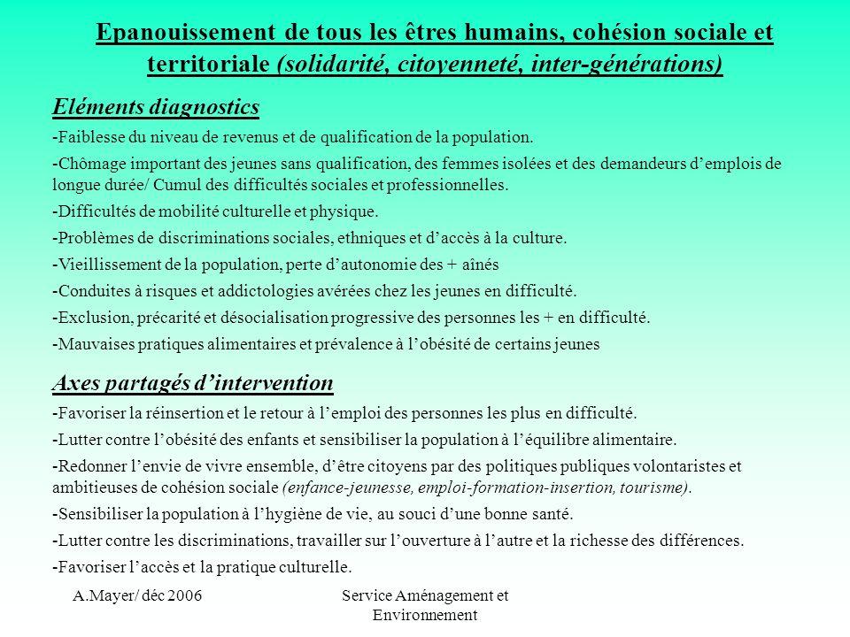 A.Mayer/ déc 2006Service Aménagement et Environnement Epanouissement de tous les êtres humains, cohésion sociale et territoriale (solidarité, citoyenneté, inter-générations) Eléments diagnostics -Faiblesse du niveau de revenus et de qualification de la population.