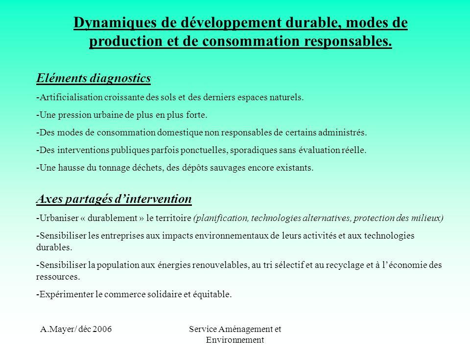 A.Mayer/ déc 2006Service Aménagement et Environnement Dynamiques de développement durable, modes de production et de consommation responsables. Elémen