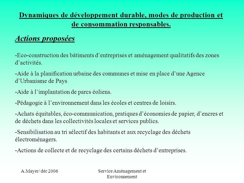 A.Mayer/ déc 2006Service Aménagement et Environnement Dynamiques de développement durable, modes de production et de consommation responsables. Action
