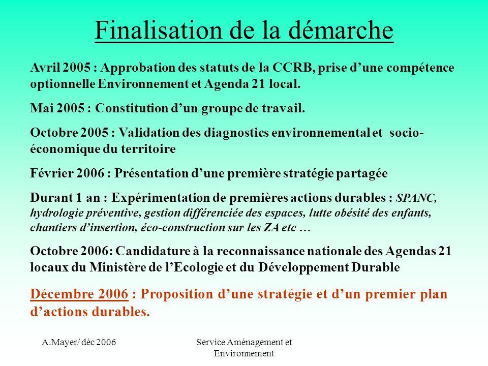 A.Mayer/ déc 2006Service Aménagement et Environnement Finalisation de la démarche Avril 2005 : Approbation des statuts de la CCRB, prise dune compétence optionnelle Environnement et Agenda 21 local.