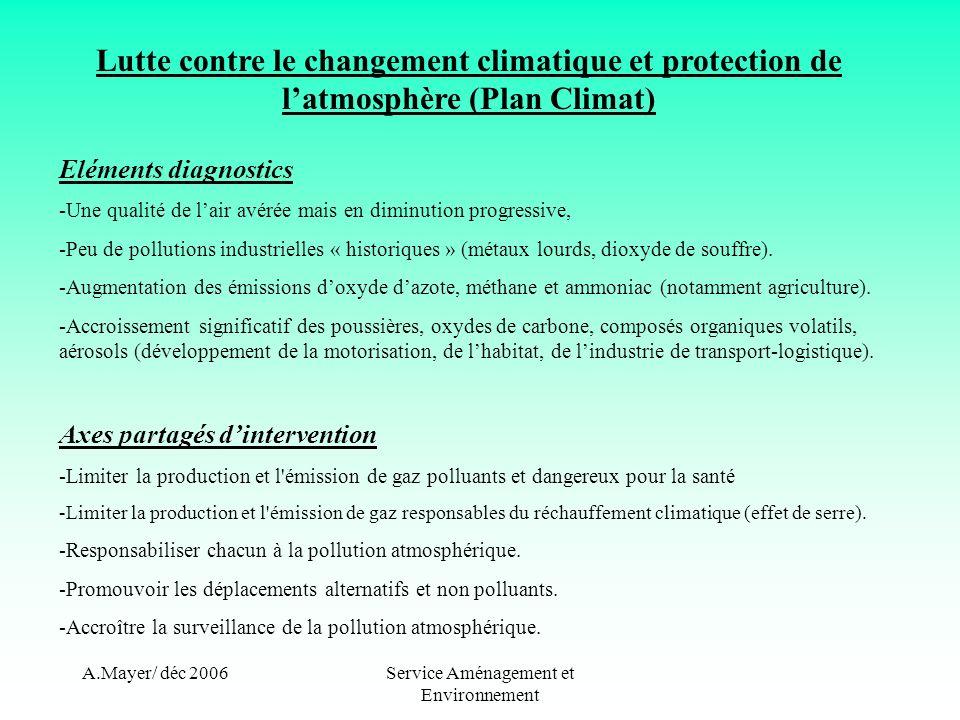 A.Mayer/ déc 2006Service Aménagement et Environnement Lutte contre le changement climatique et protection de latmosphère (Plan Climat) Actions proposées -Aménagements piétonniers et cyclables en centre-bourgs et zones dactivités.
