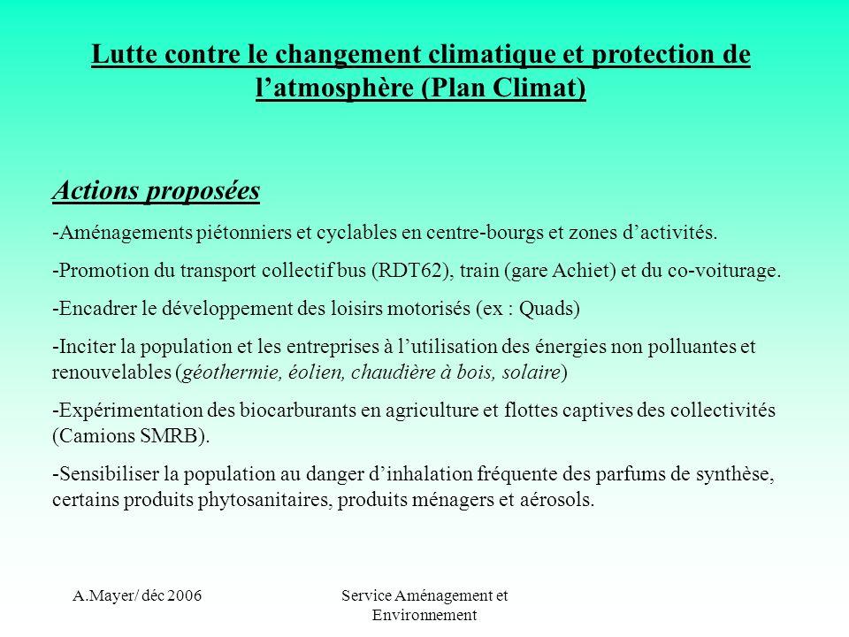 A.Mayer/ déc 2006Service Aménagement et Environnement Lutte contre le changement climatique et protection de latmosphère (Plan Climat) Actions proposé