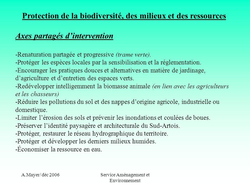 A.Mayer/ déc 2006Service Aménagement et Environnement Protection de la biodiversité, des milieux et des ressources Actions proposées -Création dune trame verte sur le territoire/connexion des milieux.