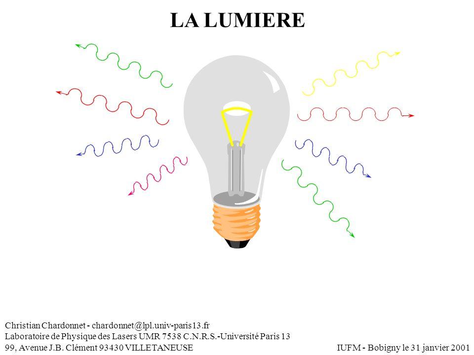LA LUMIERE Christian Chardonnet - chardonnet@lpl.univ-paris13.fr Laboratoire de Physique des Lasers UMR 7538 C.N.R.S.-Université Paris 13 99, Avenue J
