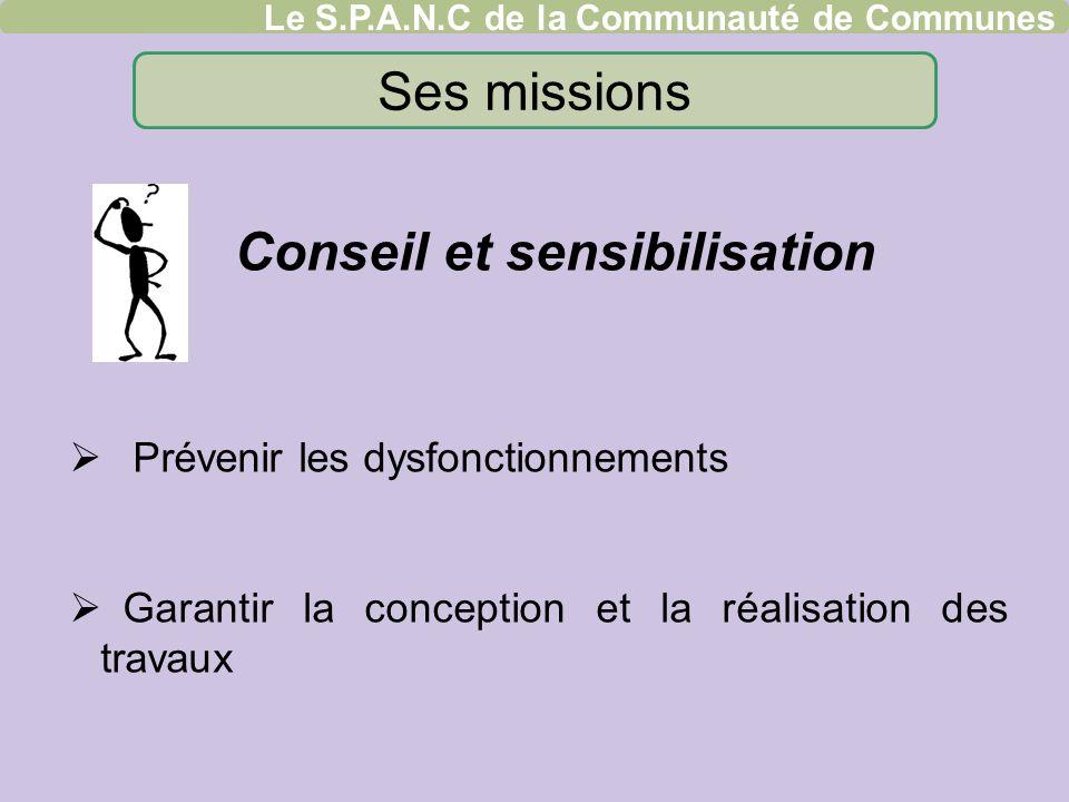 Ses missions Conseil et sensibilisation Prévenir les dysfonctionnements Garantir la conception et la réalisation des travaux Le S.P.A.N.C de la Commun