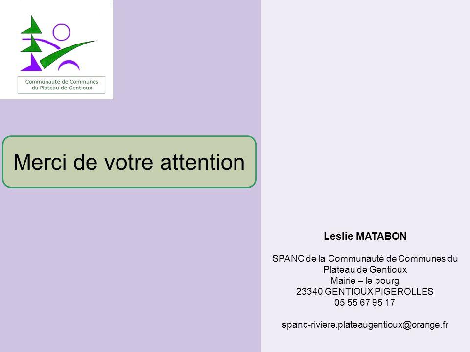 Leslie MATABON SPANC de la Communauté de Communes du Plateau de Gentioux Mairie – le bourg 23340 GENTIOUX PIGEROLLES 05 55 67 95 17 spanc-riviere.plat