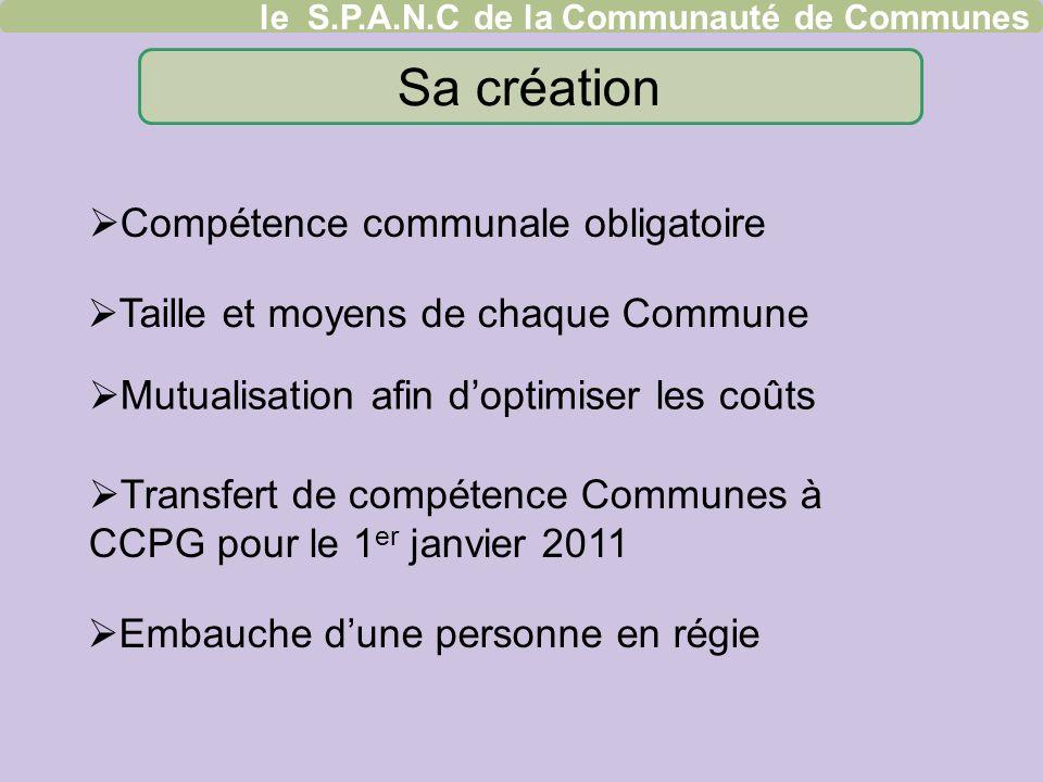 Taille et moyens de chaque Commune Embauche dune personne en régie Transfert de compétence Communes à CCPG pour le 1 er janvier 2011 le S.P.A.N.C de l