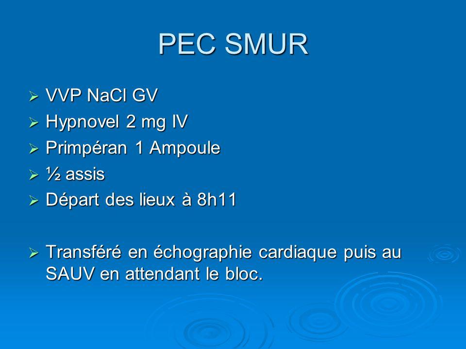 PEC SMUR VVP NaCl GV VVP NaCl GV Hypnovel 2 mg IV Hypnovel 2 mg IV Primpéran 1 Ampoule Primpéran 1 Ampoule ½ assis ½ assis Départ des lieux à 8h11 Dép