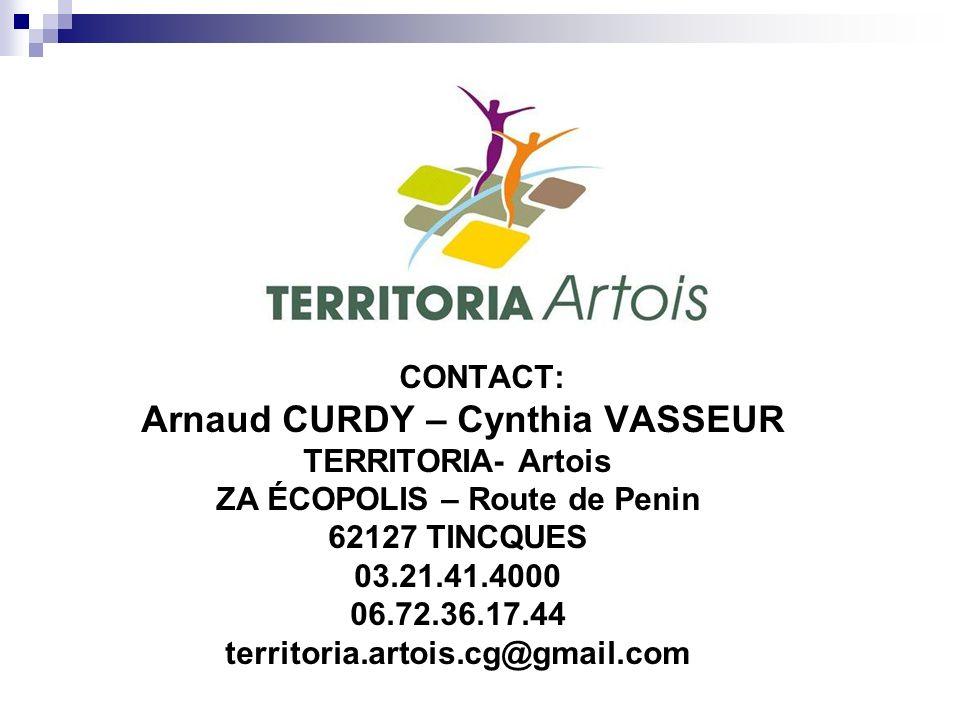 CONTACT: Arnaud CURDY – Cynthia VASSEUR TERRITORIA- Artois ZA ÉCOPOLIS – Route de Penin 62127 TINCQUES 03.21.41.4000 06.72.36.17.44 territoria.artois.cg@gmail.com
