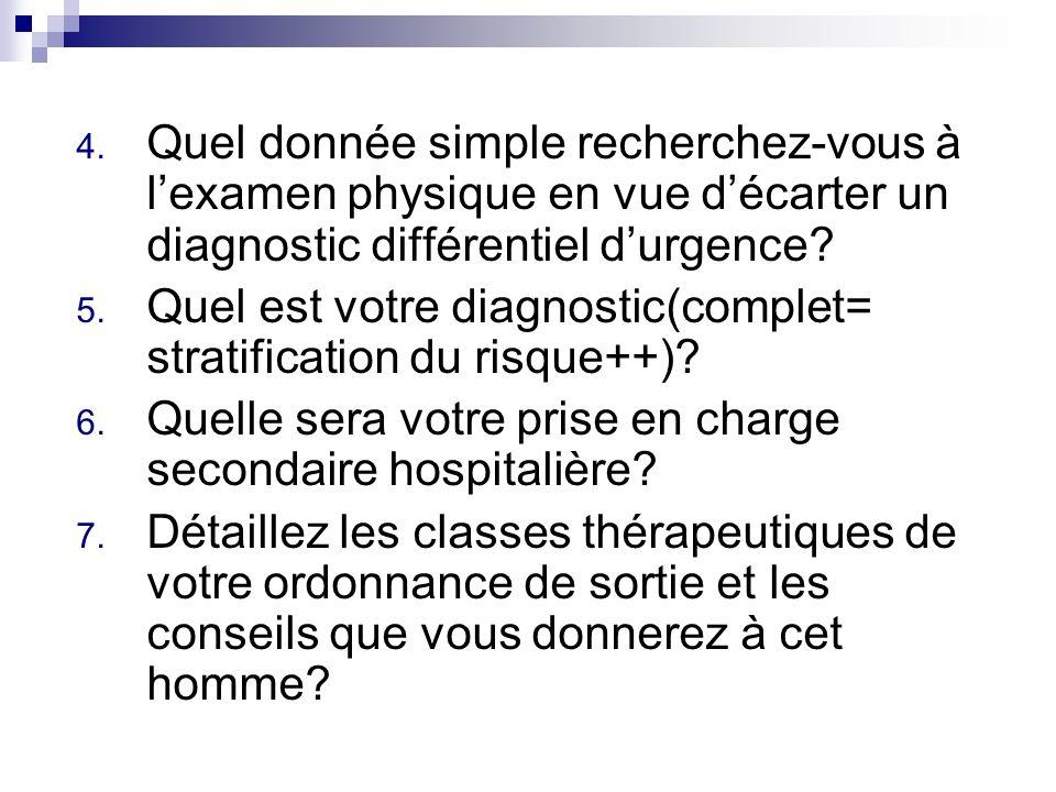 4. Quel donnée simple recherchez-vous à lexamen physique en vue décarter un diagnostic différentiel durgence? 5. Quel est votre diagnostic(complet= st