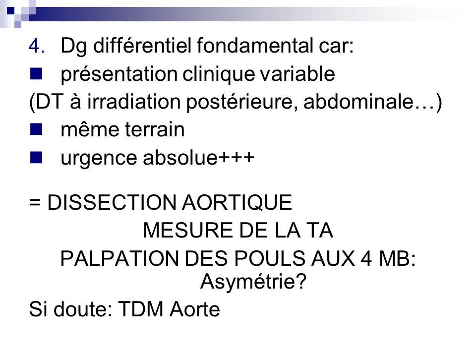 4. Dg différentiel fondamental car: présentation clinique variable (DT à irradiation postérieure, abdominale…) même terrain urgence absolue+++ = DISSE