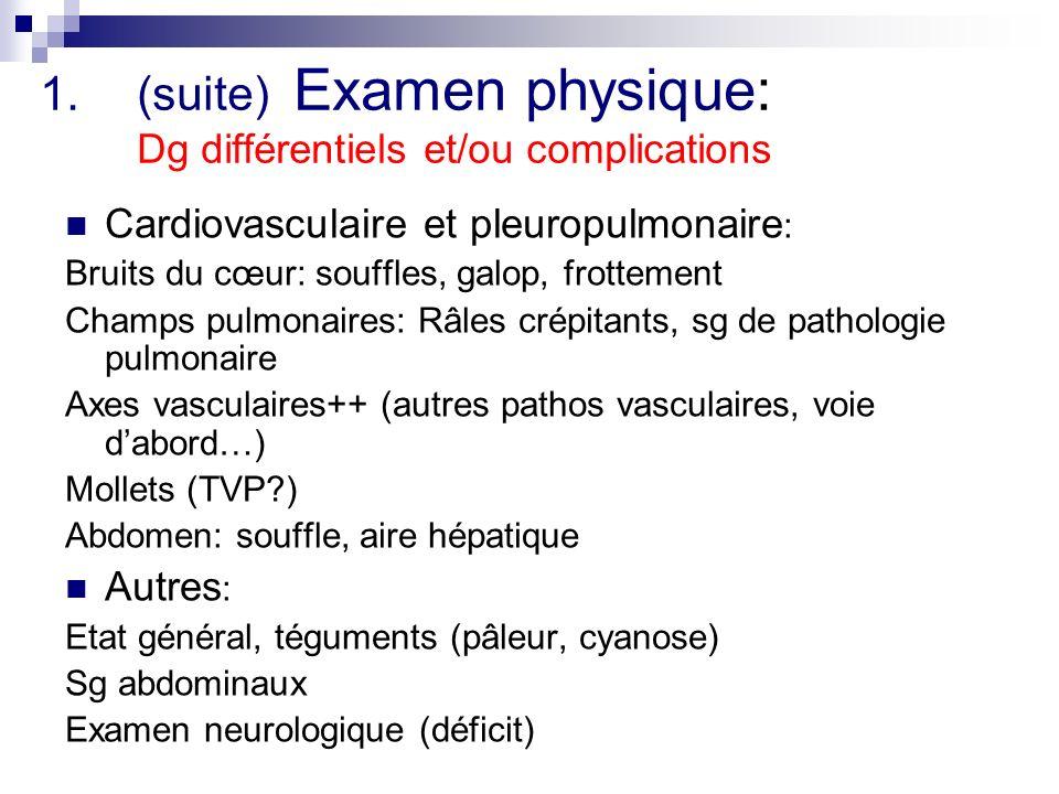 1.(suite) Examen physique: Dg différentiels et/ou complications Cardiovasculaire et pleuropulmonaire : Bruits du cœur: souffles, galop, frottement Champs pulmonaires: Râles crépitants, sg de pathologie pulmonaire Axes vasculaires++ (autres pathos vasculaires, voie dabord…) Mollets (TVP?) Abdomen: souffle, aire hépatique Autres : Etat général, téguments (pâleur, cyanose) Sg abdominaux Examen neurologique (déficit)