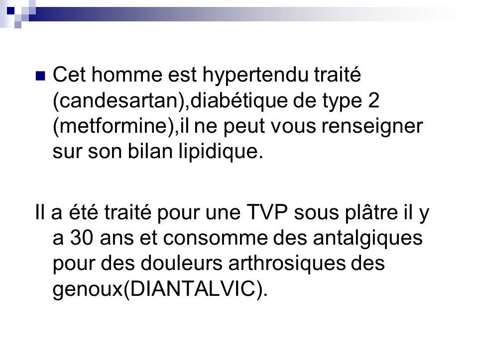 Cet homme est hypertendu traité (candesartan),diabétique de type 2 (metformine),il ne peut vous renseigner sur son bilan lipidique.