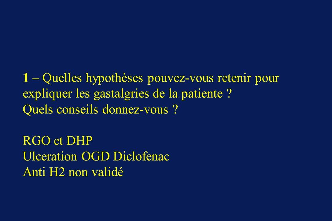 1 – Quelles hypothèses pouvez-vous retenir pour expliquer les gastalgries de la patiente ? Quels conseils donnez-vous ? RGO et DHP Ulceration OGD Dicl
