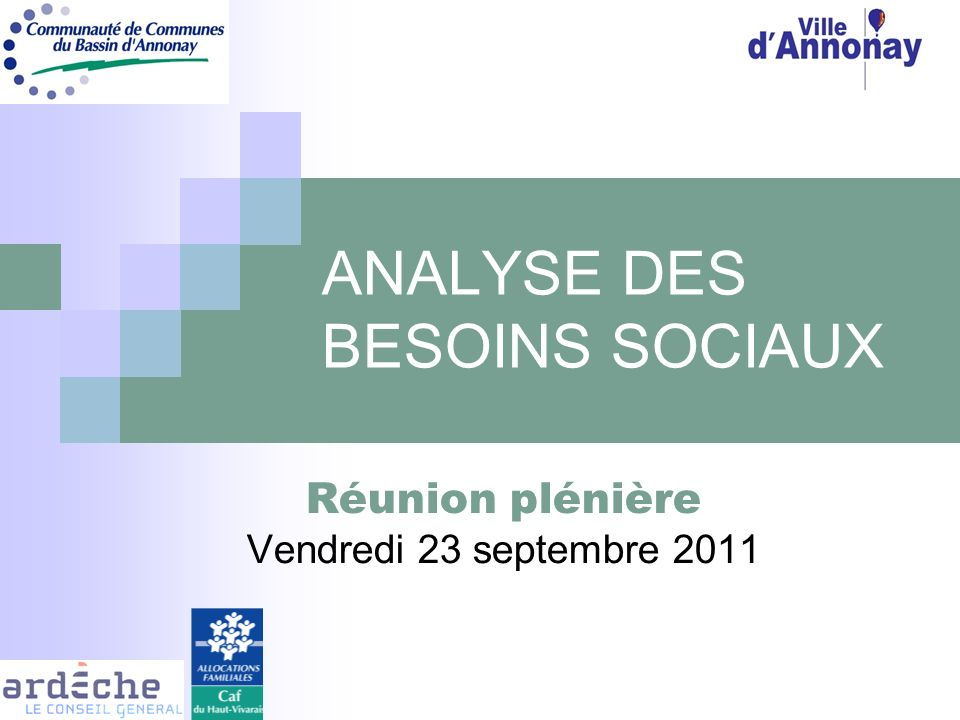 ANALYSE DES BESOINS SOCIAUX Réunion plénière Vendredi 23 septembre 2011
