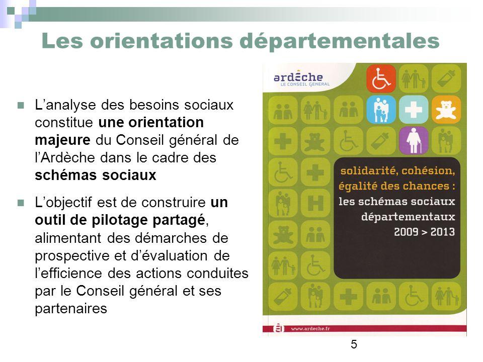 5 Les orientations départementales Lanalyse des besoins sociaux constitue une orientation majeure du Conseil général de lArdèche dans le cadre des sch