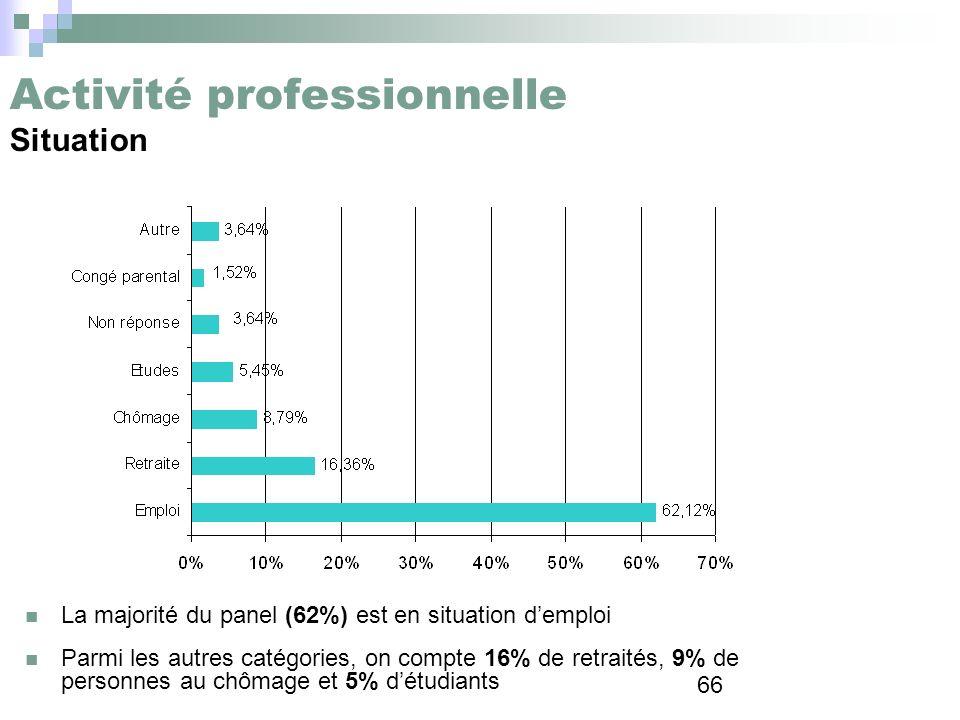 66 Activité professionnelle Situation La majorité du panel (62%) est en situation demploi Parmi les autres catégories, on compte 16% de retraités, 9%