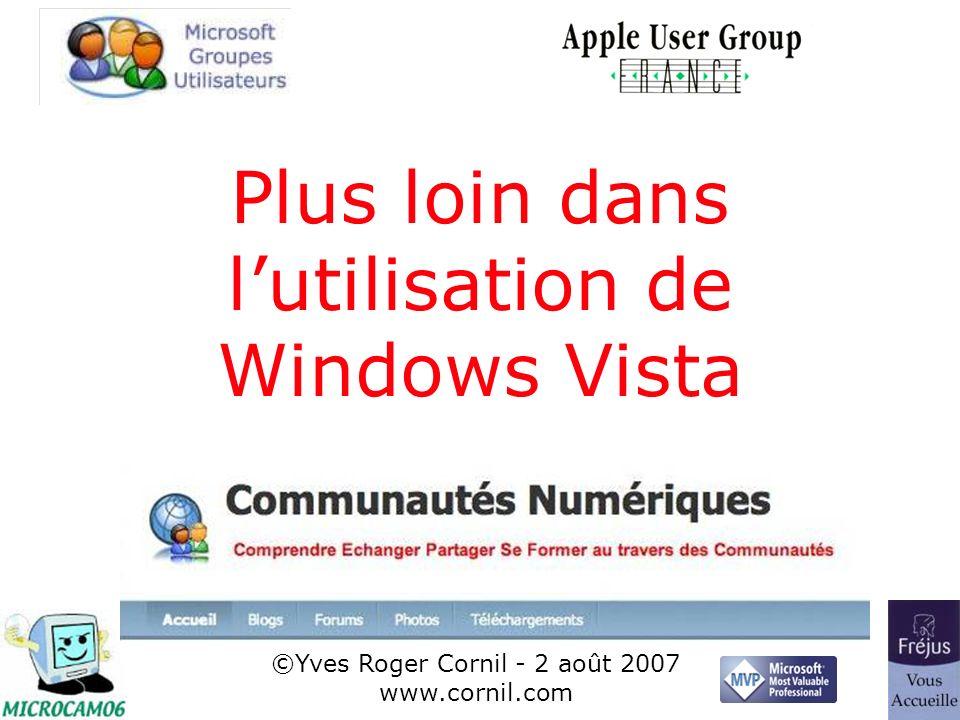 1 Plus loin dans lutilisation de Windows Vista ©Yves Roger Cornil - 2 août 2007 www.cornil.com